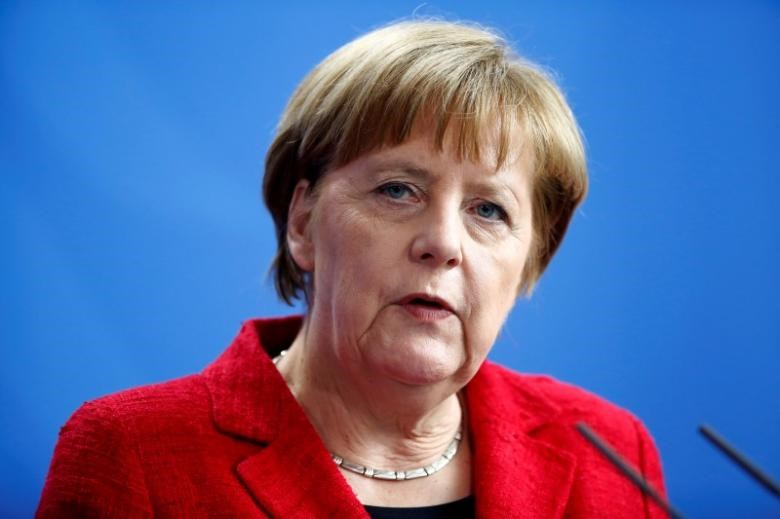 German Chancellor Angela Merkel attends a news conference after talks with Armenia's President Serzh Sargsyan at the Chancellery in Berlin, Germany, April 6, 2016.