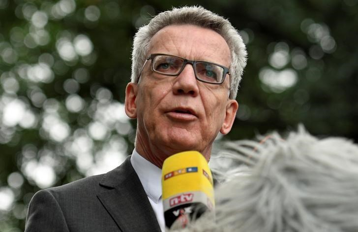 German Interior Minister Thomas de Maiziere addresses media during his visit at the federal police inspection in Bremen, Germany, August 10, 2016.