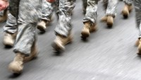 U.S. army soldiers are seen marching in the St. Patrick's Day Parade in New York, March 16, 2013.