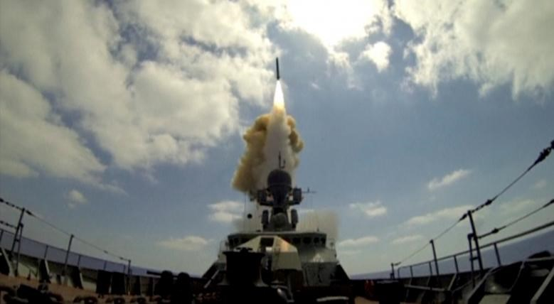 A still image, taken from video footage and released by Russia's Defence Ministry on August 19, 2016, shows a rocket being launched from a Russian corvette in the Mediterranean Sea at Jabhat Fateh al-Sham militant targets in Syria, according to the ministry. Ministry of Defence of the Russian Federation/Handout via Reuters