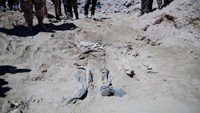 Remnants of a body belonging to Shi'ite soldiers from Camp Speicher who have been killed by Islamic State militants is seen at a mass grave in the presidential compound of the former Iraqi president Saddam Hussein in Tikrit April 6, 2015.
