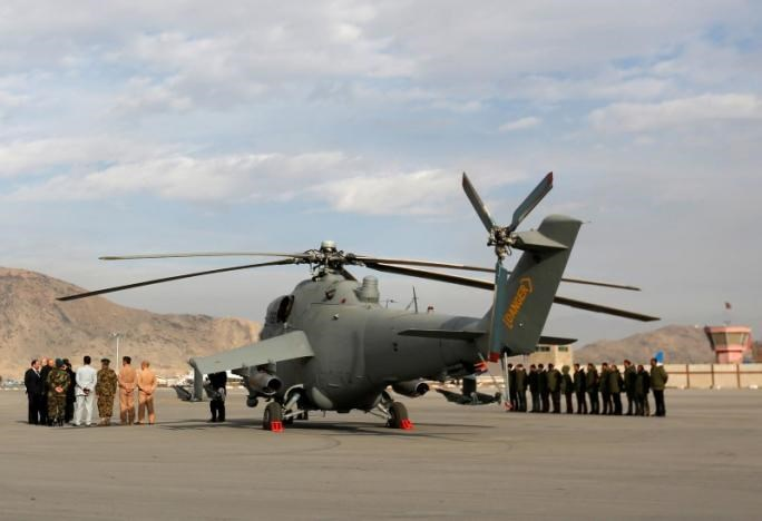 A helicopter donated by India is parked at the airport in Kabul, Afghanistan December 25, 2015.