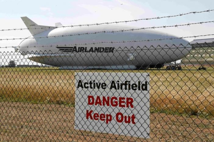 The Airlander 10 hybrid airship is seen after a crash-landing during a test flight at Cardington Airfield in Britain, August 24, 2016.