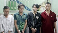 Nguyen Van Thanh (1st, L) and three other suspects in a robbery of three Malaysian tourists in HCMC
