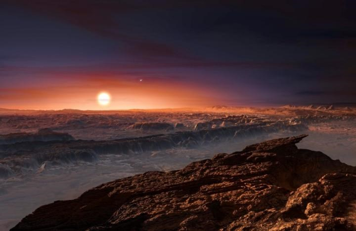 A view of the surface of the planet Proxima b orbiting the red dwarf star Proxima Centauri, the closest star to our Solar System, is seen in an undated artist's impression released by the European Southern Observatory August 24, 2016. ESO/M. Kornmesser/Handout via Reuters