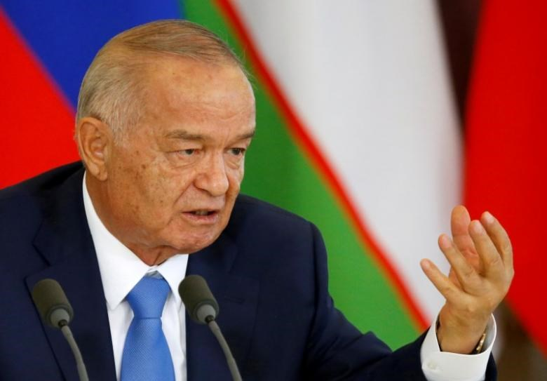 Uzbek President Islam Karimov speaks during a joint news conference with Russian President Vladimir Putin (not pictured) following their meeting at the Kremlin in Moscow, Russia, April 26, 2016.