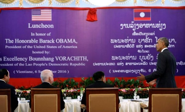 U.S. President Barack Obama (R) delivers remarks before a toast with Laos President Bounnhang Vorachith (seated, C) after their bilateral meeting alongside the ASEAN Summit, at the Presidential Palace in Vientiane, Laos September 6, 2016.