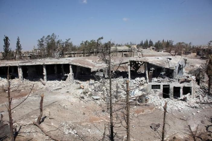 A general view shows the damage at a military complex, after forces loyal to Syria's President Bashar al-Assad recaptured areas in southwestern Aleppo on Sunday that rebels had seized last month, Syria, in this handout picture provided by SANA on September 5, 2016.