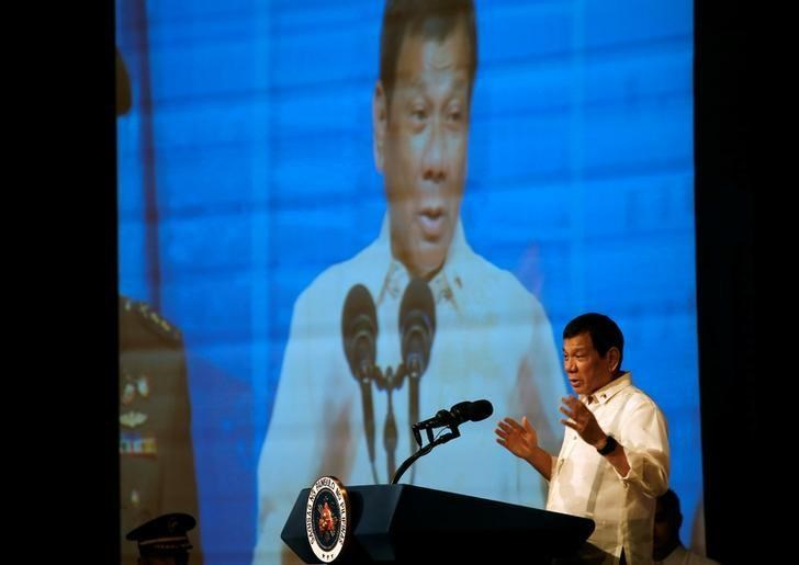 Philippines President Rodrigo Duterte speaks to members of the Filipino community in Jakarta, Indonesia September 9, 2016.