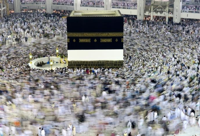 Muslim pilgrims circle the Kaaba at the Grand mosque in Mecca, Saudi Arabia, September 6, 2016.