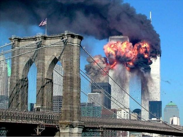 The second tower of the World Trade Center collapses after being hit by a hijacked airplane in New York, September 11, 2001.