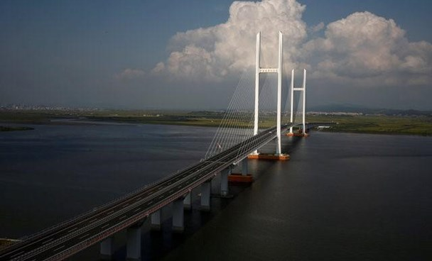 A general view shows the unfinished New Yalu River bridge that was designed to connect China's Dandong New Zone, Liaoning province, and North Korea's Sinuiju, September 11, 2016.