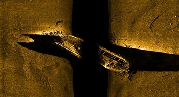 A sonar view of one of two ill-fated ships lost more than 160-years-ago when Sir John Franklin led an expedition to chart the Northwest Passage in the Canadian Arctic