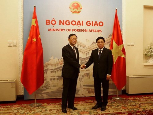 Deputy Prime Minister and Foreign Minister Pham Binh Minh (R) receives Chinese State Councillor Yang Jiechi in Hanoi June 18, 2014. Photo: Ngoc Thang