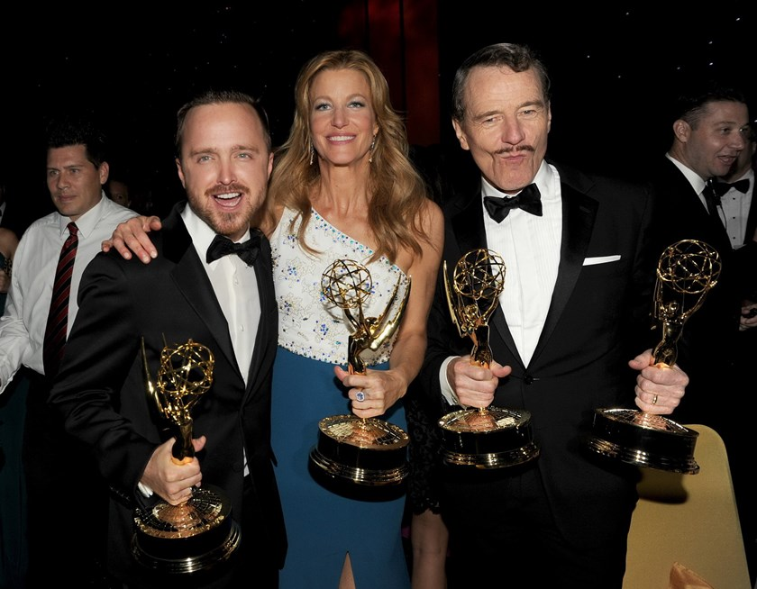 (L-R) Actors Aaron Paul, winner of the award for Outstanding Supporting Actor in a Drama Series, Anna Gunn, winner of the award for Outstanding Supporting Actress in a Drama Series, and Bryan Cranston, winner of the award for Outstanding Lead Actor in a D