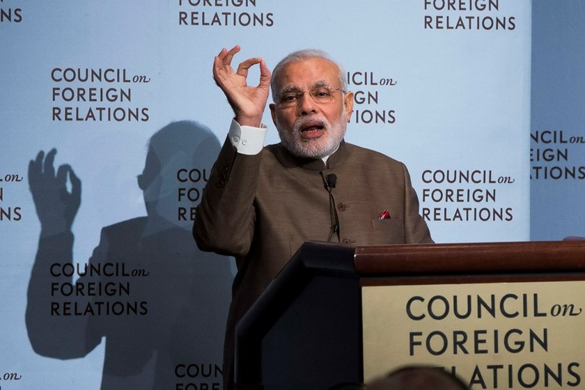 India's Prime Minister Narendra Modi speaks at the Council on Foreign Relations in New York, during his visit to the United States September 29, 2014. Photo: Reuters