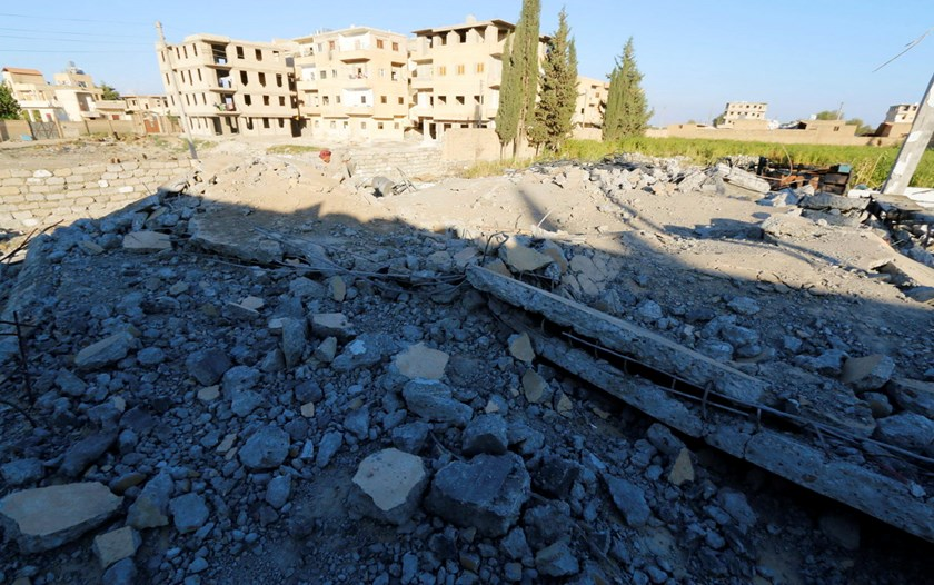 A general view shows the damage at a plastics factory that was targeted on Sunday by what activists said were U.S.-led air strikes in the Islamic State's stronghold of Raqqa September 29, 2014. Photo: Reuters