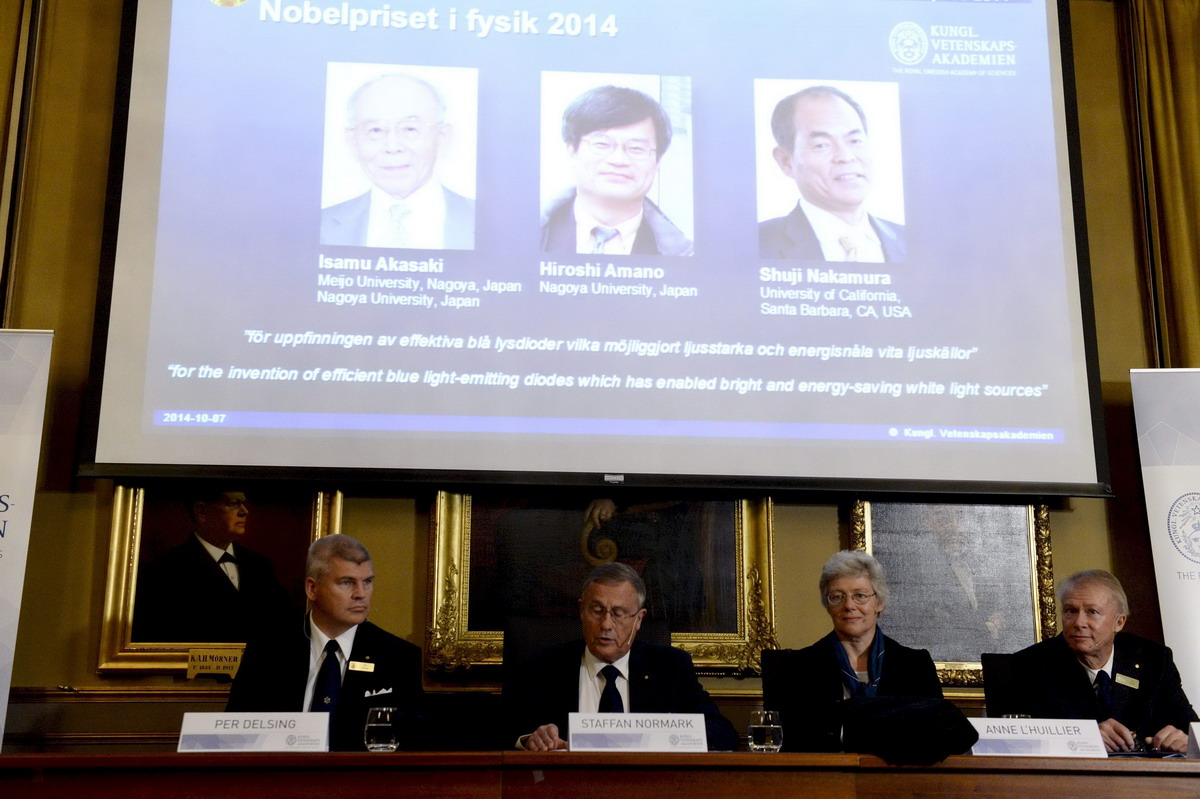 Nobel Prize for physics goes to inventors of low-energy LED light