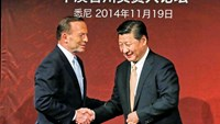 China's President Xi Jinping (R) and Australia's Prime Minister Tony Abbott shake hands on stage after they both addressed the Australia-China state and provincial leaders forum in Sydney November 19, 2014. Photo: Reuters