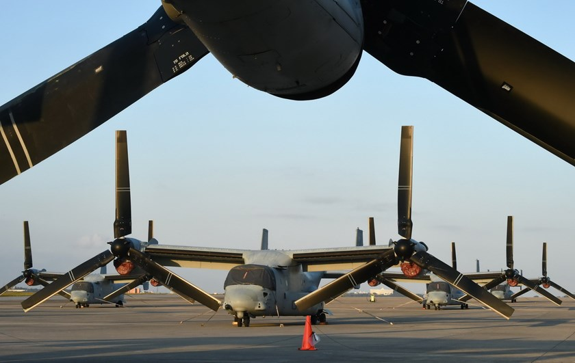 This file photo taken on November 14, 2014 shows multi-mission tiltrotor Osprey aircraft at the US Marine's Camp Futenma in a crowded urban area of Ginowan, in Japan's southern island of Okinawa. Photo: AFP