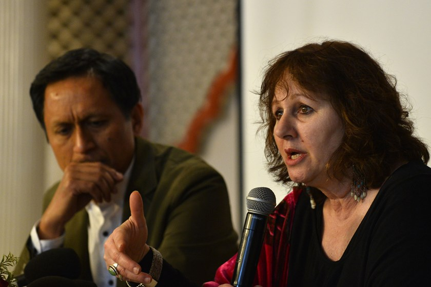 Leslee Udwin (R), director of the documentary 'India's Daughter', gestures during a press conference alongside her co-producer Indian TV journalist Dibang (L) in New Delhi on March 3, 2015. Photo: AFP