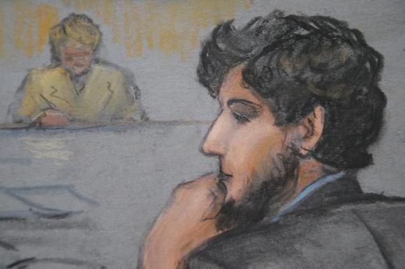 A courtroom sketch shows Boston Marathon bombing suspect Dzhokhar Tsarnaev (R) during the jury selection process in his trial at the federal courthouse in Boston, Massachusetts January 15, 2015. Photo credit: Reuters/Jane Flavell Collins