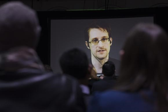 Former U.S. National Security Agency contractor Edward Snowden appears live via video during a student organized world affairs conference at the Upper Canada College private high school in Toronto, in this file photo taken February 2, 2015. Photo: Reuters