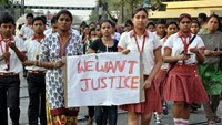 This photo taken on March 14, 2015 shows students from the Convent of Jesus and Mary in Ranaghat, 70 kilometers north of Kolkata, protesting after a 71-year-old nun was gang-raped at the convent. Photo: AFP