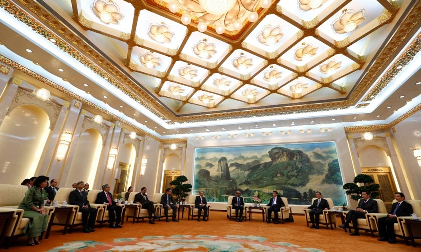 China's President Xi Jinping meets with guests at the Asian Infrastructure Investment Bank (AIIB) launch ceremony at the Great Hall of the People in Beijing in October 2014. Photograph: Reuters