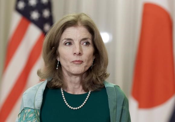 U.S. Ambassador to Japan Caroline Kennedy looks on before a welcome dinner hosted by Japanese Prime Minister Shinzo Abe (not pictured) at Abe's residence in Tokyo March 17, 2015. Photo: Reuters