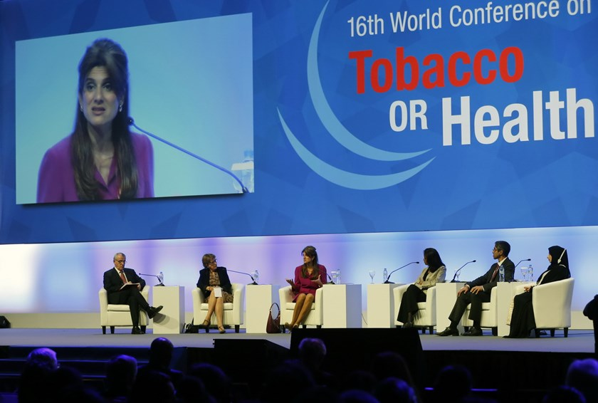 The delegates take part in a panel discussion during the official opening of the 16th World Conference on Tobacco or Health in Abu Dhabi, on March 17, 2015. Photo: AFP