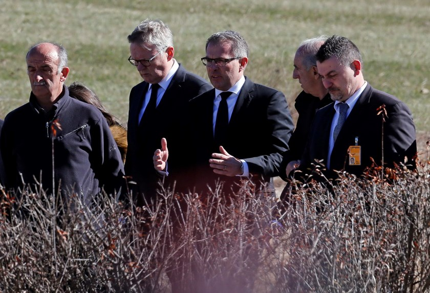 Lufthansa Chief Executive Carsten Spohr (C) and Germanwings Managing Director Thomas Winkelmann (2ndL) speak during a news conference near the memorial for the victims of the air disaster in the village of Le Vernet, near the crash site of the Germanwings
