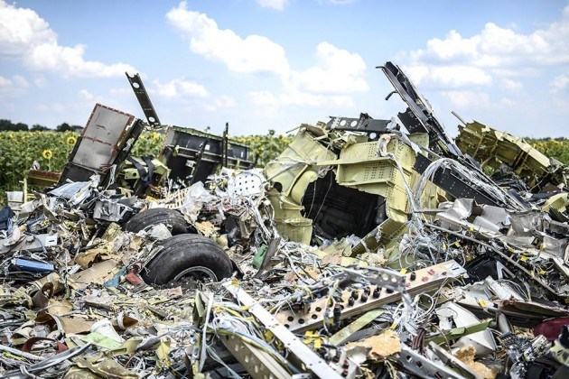The crash site of the downed Malaysia Airlines flight MH17, in a field near the village of Grabove, in the Donetsk region, on July 23, 2014. Photo: AFP / Getty Images