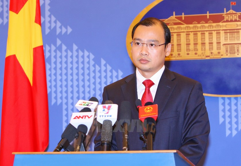 Vietnam's Foreign Ministry Spokesman Le Hai Binh at a press conference in Hanoi May 28, 2015. Photo: Vietnam News Agency
