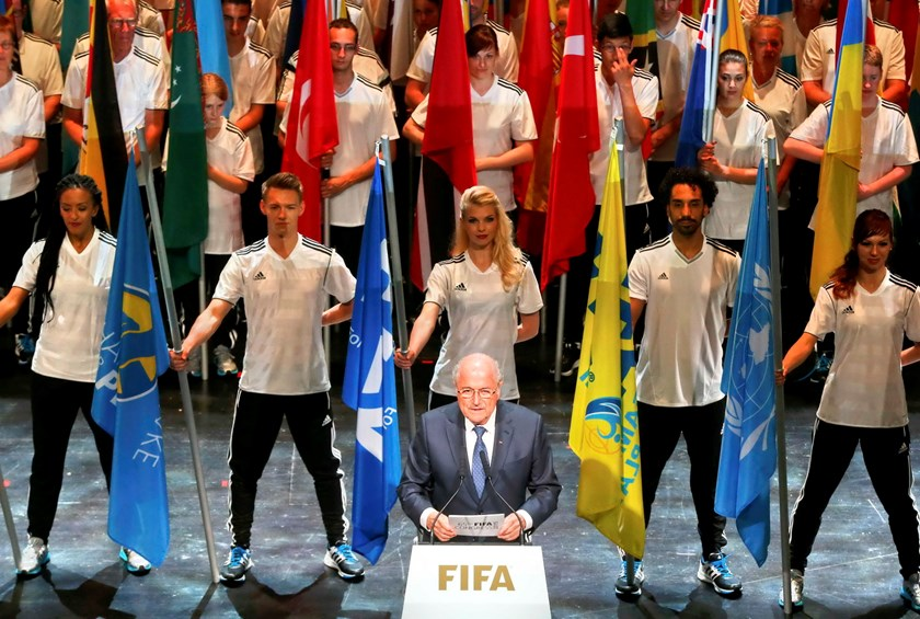 FIFA President Sepp Blatter makes a speech during the opening ceremony of the 65th FIFA Congress in Zurich, Switzerland, May 28, 2015. Photo: Reuters/Arnd Wiegmann