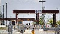 Security personal man the main gate of the Dugway Proving Ground on May 28, 2015 in Dugway, Utah. According to reports from the Army, that it mistakenly shipped live Anthrax to several government and commercial labs in the U.S. and Korea. Dugway is a high