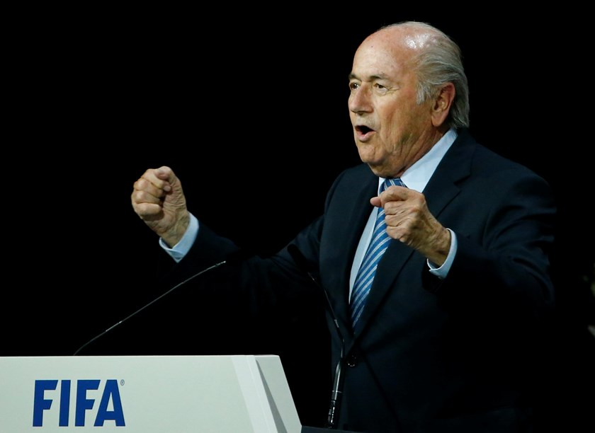 FIFA President Sepp Blatter speaks after he was re-elected at the 65th FIFA Congress in Zurich, Switzerland, May 29, 2015. Photo: Reuters/Ruben Sprich