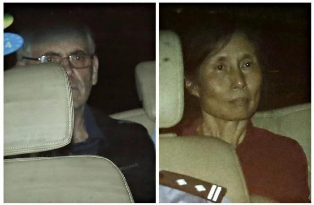 A combination photo shows British corporate investigator Peter Humphrey (L) and his wife Yu Yingzeng as they leave the Shanghai No.1 Intermediate People's Court inside a police vehicle in Shanghai August 8, 2014. Photo: Reuters/Aly Song