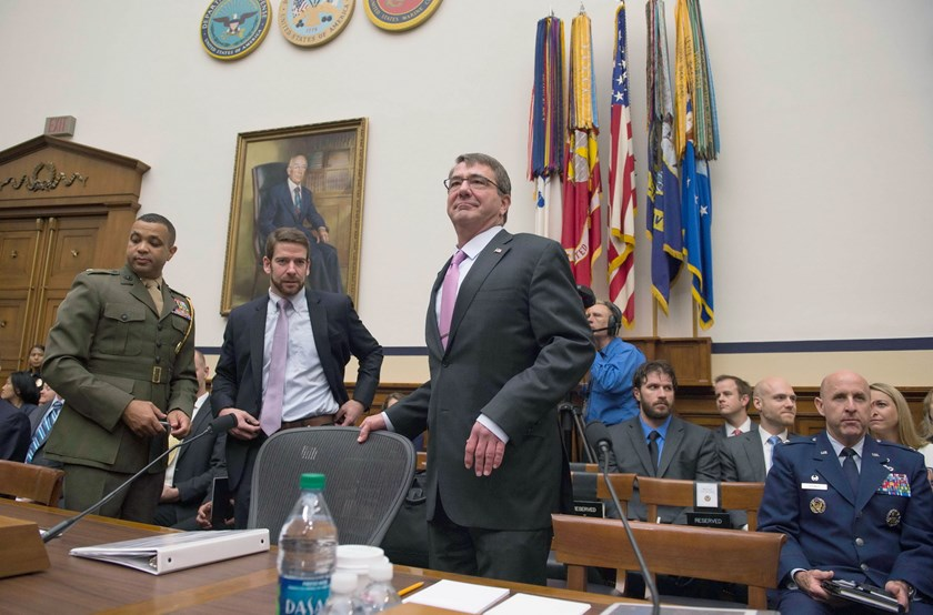 "US Secretary of Defense Ashton Carter (C) arrives to testify before the House Armed Services Committee on Capitol Hill in Washington, DC, June 17, 2015. The committee is holding hearings on ""U.S. Policy and Strategy in the Middle East."" Photo: AFP/Jim Watson"