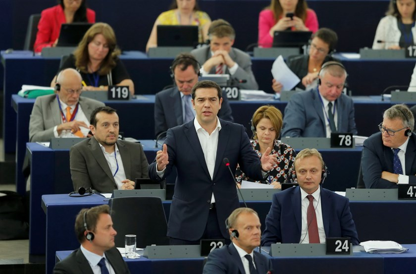 Greek Prime Minister Alexis Tsipras addresses the European Parliament in Strasbourg, France, July 8, 2015. Photo: Reuters/Vincent Kessler