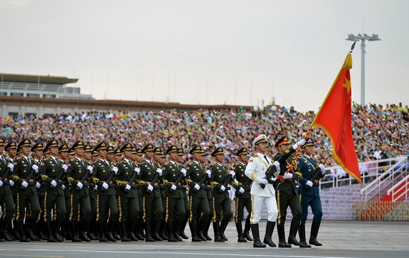 Soldiers of China's People's Liberation Army (PLA) march during a rehearsal for a military parade in Beijing, August 23, 2015. Photo: Reuters/Stringer