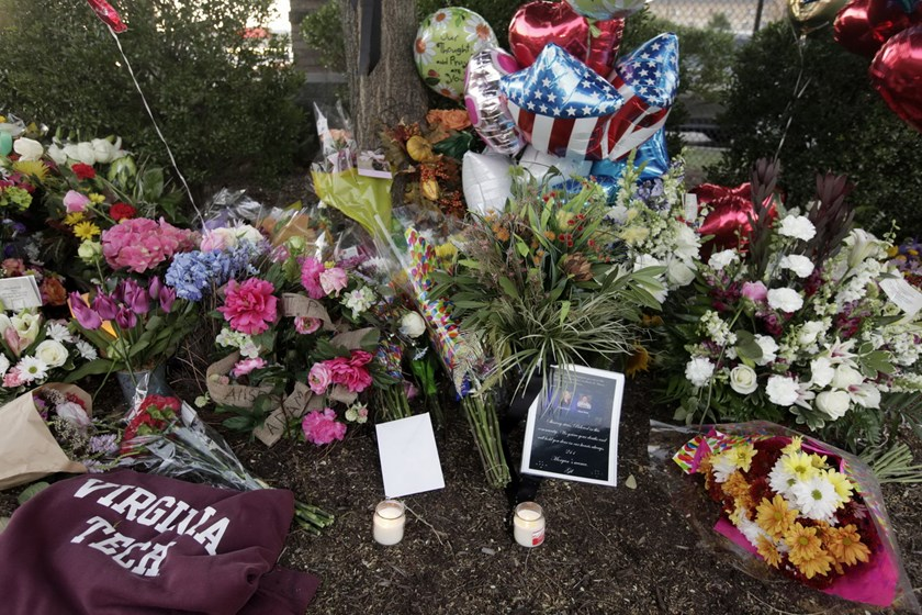 Flowers are left for the two journalists that were killed this morning during a live broadcast on August 26, 2015 in Roanoke, Virginia. Photo: Jay Paul/Getty Images/AFP