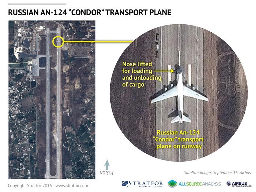 An Airbus Defense and Space satellite image courtesy of Stratfor, a geopolitical intelligence and advisory firm in Austin, Texas, shows a Russian AN-124 Condor transport plane at the air base at Latakia, Syria on September 15, 2015. Photo: Reuters/www.Stratfor.com/Airbus Defense and Space/Handout