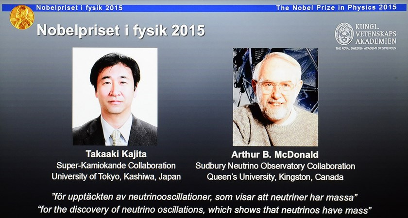 The portraits of the winners of the Nobel Prize in Physics 2015 Takaaki Kajita (L) and Arthur B McDonald are displayed on a screen during a press conference of the Nobel Committee to announce the winner of the 2015 Nobel Prize in Physics on October 6, 2015 at the Swedish Academy of Sciences in Stockholm, Sweden. Photo: AFP/Jonathan Nackstrand
