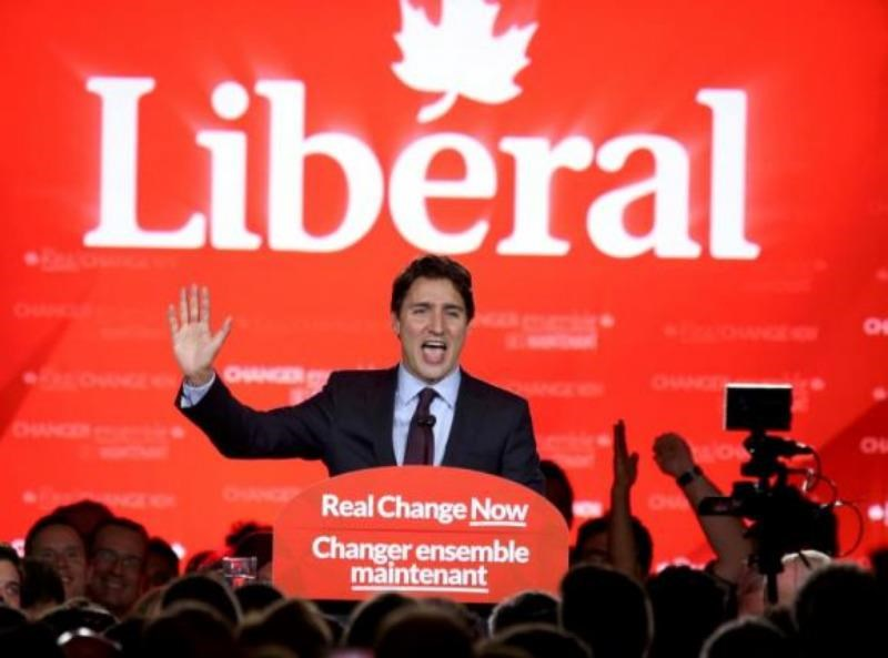 Liberal Party leader Justin Trudeau gives his victory speech after Canada's federal election in Montreal, Quebec, October 19, 2015. Photo: Reuters/Chris Wattie