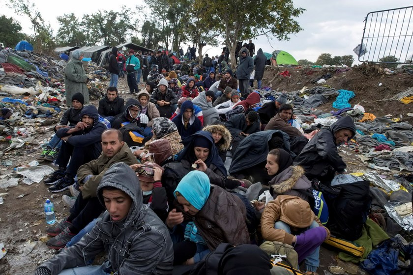 Migrants sit along a road as they wait to cross the border with Croatia near the village of Berkasovo, Serbia October 21, 2015. Photo: Reuters/Marko Djurica