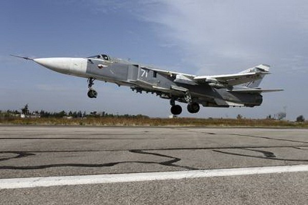 A Sukhoi Su-24 fighter jet takes off from the Hmeymim air base near Latakia, Syria, in this handout photograph released by Russia's Defense Ministry October 22, 2015. Photo: Reuters/Ministry of Defense of the Russian Federation