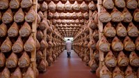 A worker walks in a special room where Parma ham are hung to dry in Langhirano, near Parma, in this October 13, 2009 file photo. Photo: Reuters/Stefano Rellandini/Files