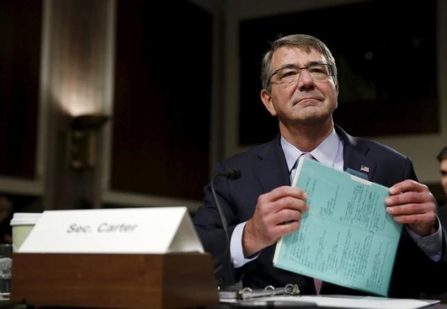 United States Secretary of Defense Ash Carter prepares to testify at a Senate Armed Forces Committee hearing on ''United States Strategy in the Middle East'' in Washington October 27, 2015. Photo: Reuters/Gary Cameron
