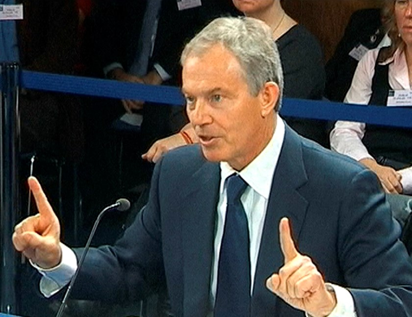A still image from video shows former British Prime Minister Tony Blair speaking at an inquiry into Britain's role in the Iraq War, at the Queen Elizabeth II Conference Center, in central London January 21, 2011. Photo: Reuters